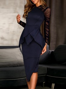 Navy Blue Cascading Ruffle Irregular V-neck Patchwork Grenadine Long Sleeve Work Midi Dress