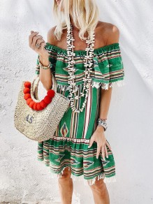 Green Floral Print Tassel Boat Neck Bohemian Midi Dress