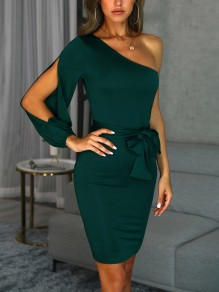 03d6df340 Green Sashes Bow Cut Out Asymmetric Shoulder Cocktail Party Midi Dress