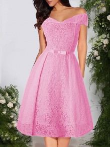 Pink Patchwork Lace Bow Off Shoulder Short Sleeve Party Midi Dress