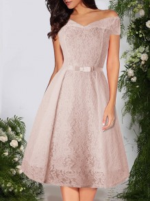 Apricot Patchwork Lace Bow Off Shoulder Short Sleeve Party Midi Dress