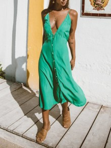 Green Single Breasted Adjustable-straps Deep V-neck Flowy Sundress Beach Midi Dress