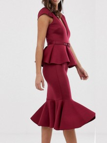 Burgundy Ruffle Belt V-neck Cap Sleeve Peplum 2-in-1 Falbala Hip Bodycon Work Casual Midi Dress