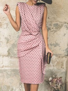Pink Polka Dot Wrap Ruched Fashion Party Casual Skater Midi Dress