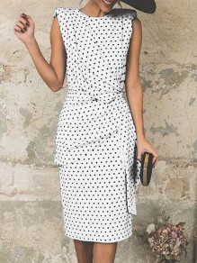 White Polka Dot Wrap Ruched Fashion Party Casual Skater Midi Dress