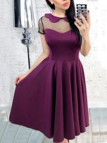 Purple Patchwork Grenadine Draped Peter Pan Collar Short Sleeve Midi Dress