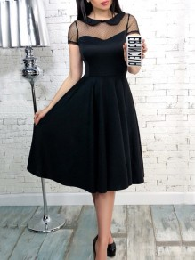 Black Patchwork Grenadine Draped Peter Pan Collar Short Sleeve Midi Dress