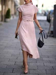 Pink Patchwork Irregular High Neck Short Sleeve Fashion Midi Dress