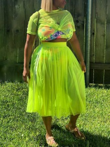 Neon Green Grenadine Sheer Round Neck Short Sleeve 2-in-1 High Waisted Pleated Going Out Midi Dress