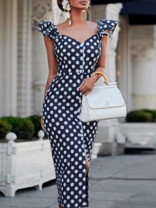 Navy Blue Polka Dot Ruffle Buttons V-neck Slit Elegant Midi Dress