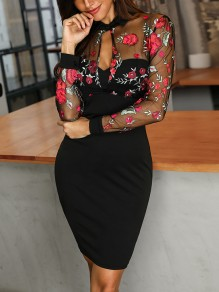 Black Patchwork Grenadine Flower Embroidery Print Long Sleeve Bodycon Mexican Work Midi Dress