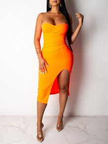 Orange Reißverschluss Bandeau V-Ausschnitt Open Back Sleeveless Slit Hip Bodycon Clubwear Midi-Kleid
