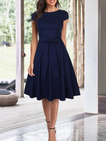 Navy Blue Bow Draped Round Neck Short Sleeve Elegant Midi Dress