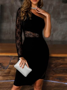 Black Patchwork Lace Asymmetric Shoulder Party Midi Dress