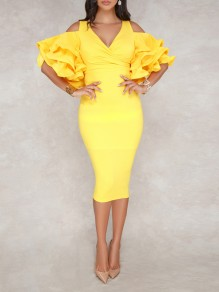 Yellow Zipper V-neck Layers Of Ruffle Sleeve Slit Bodycon Work Midi Dress