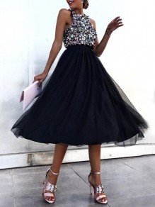 Black Patchwork Sequin Grenadine Halter Neck Sleeveless Elegant Midi Dress