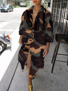 Army Green Camouflage Pattern Irregular Single Breasted Turndown Collar Casual Midi Dress