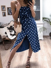 Blue Polka Dot Print Ruffle Sashes Spaghetti Strap Slit Midi Dress