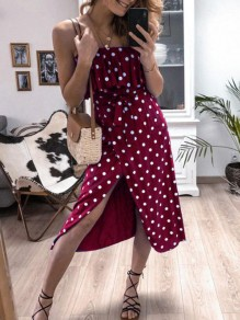 Burgundy Polka Dot Print Ruffle Sashes Spaghetti Strap Slit Midi Dress