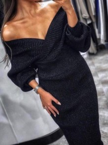 Black Off Shoulder Long Sleeve Two Piece Fashion Elegant Formal Prom Sweater Midi Dress