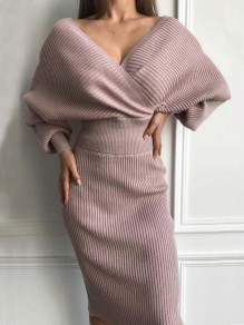 Pink V-neck Long Sleeve Two Piece Fashion Midi Dress