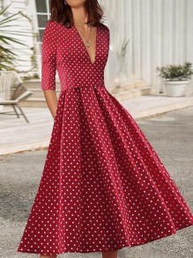 Red Polka Dot Print V-neck Elbow Sleeve Big Swing Plus Size Work Midi Dress