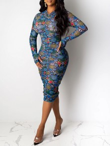 Blue Snake Skin Print Ruched Long Sleeve Bodycon Clubwear Midi Dress With Gloves