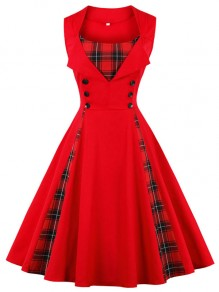 Red Patchwork Plaid Button Sleeveless A-Line Elegant Midi Dress