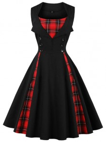 Black Patchwork Plaid Button Sleeveless A-Line Elegant Midi Dress