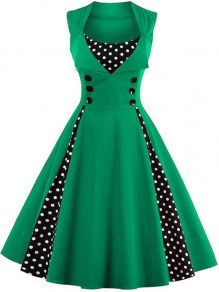 Green Patchwork Polka Dot Button Sleeveless A-Line Elegant Midi Dress