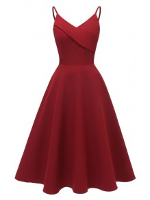 Wine Red Spaghetti Strap V-neck Backless Sleeveless A-Line Elegant Midi Dress
