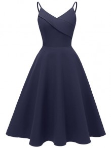 Navy Blue Spaghetti Strap V-neck Backless Sleeveless A-Line Elegant Midi Dress