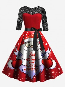 Red Patchwork Lace Bow Sashes Round Neck Santa Claus Midi Dress
