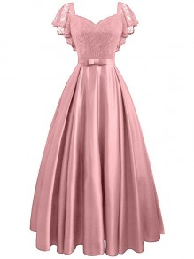 Pink Lace Ruffle Bow V-neck Elegant Banquet Midi Dress