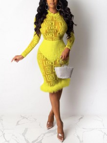 Yellow Patchwork Faux Fur Geometric Pattern Sheer Bodycon Banquet Party Midi Dress