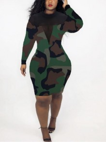 Army Green Patchwork Grenadine Camouflage Pattern Bodycon Party Midi Dress
