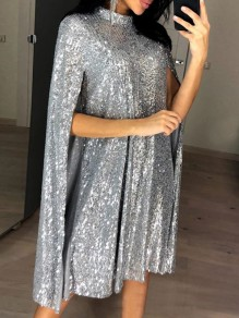 Silver Patchwork Sequin Glitter Band Collar Fashion Cape Midi Dress