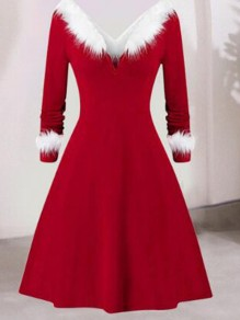 Red-White Patchwork Faux Fur Off Shoulder Backless Skater Christmas Party Midi Dress