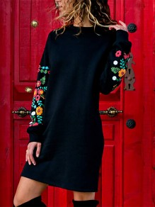 Black Patchwork Embroidery Round Neck Long Sleeve Modern Midi Dress