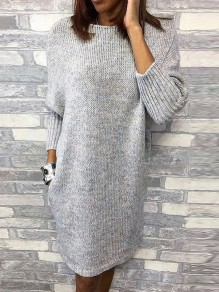 Robe midi col rond manches longues pull oversize fantaisie gris