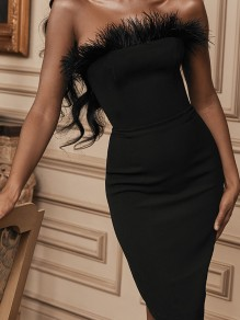 Black Bandeau Patchwork Feather Fur Off Shoulder Sleeveless Hip Bodycon Hot Prom Party Midi Dress