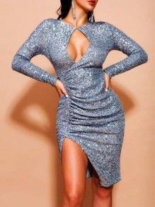 Silver Cut Out Irregular Pleated Side Slit Christmas Bodycon Sparkly Banquet Party Midi Dress