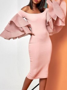 Pink Patchwork Ruffle Flare Sleeve Off Shoulder Bodycon Banquet Party Midi Dress