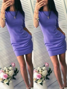 Purple Pockets Sweet Casual Going out Comfy Mini Dress