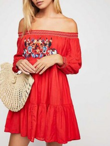 Red Floral Embroidery Off Shoulder Backless Pleated Vintage Mexican Flowy Bohemian Mini Dress