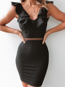 Black Backless Cut Out Falbala A-Line Bodycon Going out Mini Dress