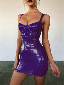 Lila Latex Rückenfreies Ärmellos Push Up Bodycon Enges Minikleid Cocktailkleid Wetlook