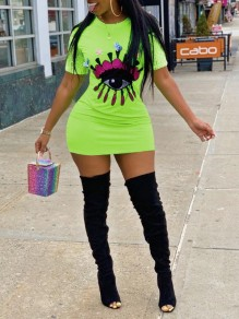 Neon green Patchwork Eye Sequin Short Sleeve Bodycon Clubwear T-shirt Mini Dress