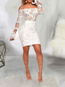 White Patchwork Lace Off Shoulder Sheer Bell Sleeve Bodycon Party Mini Dress