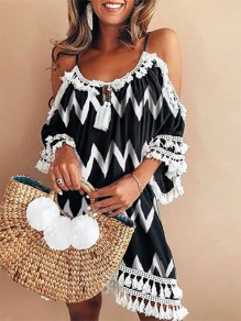 Black Wave Cut Out Tassel Halter Neck Bohemian Mini Dress
